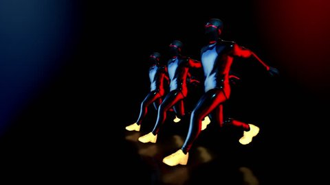 Male dance group performs in futuristic metallic neon costumes, 3D Rendering Animation.