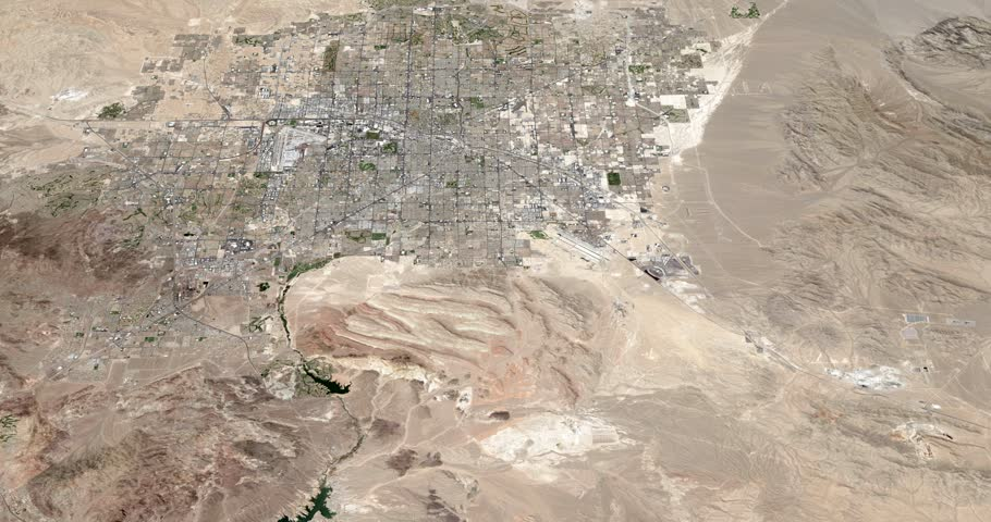 Very high-altitude circular tracking shot of Las Vegas, Nevada. Reversible, seamless loop. Elements of this image furnished by NASA | Shutterstock HD Video #1018961383