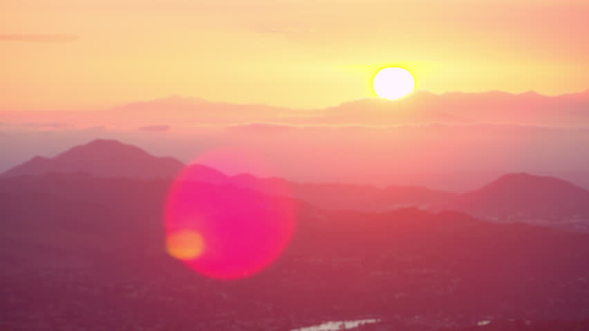 Aerial view of helicopter flying over mountain range during gorgeous pink sunset in Los Angeles, California. Wide long shot on 4K RED camera. | Shutterstock HD Video #1019021863