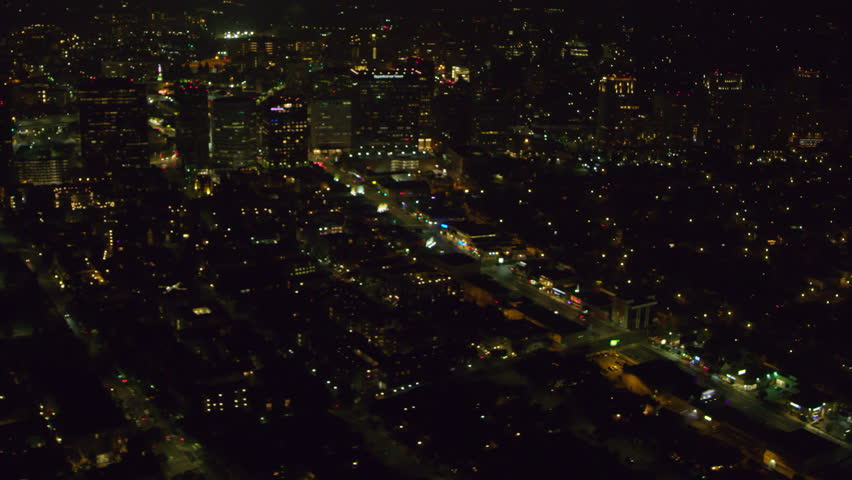 Aerial view of big city on a clear night in Los Angeles, California. Shot on 4K RED camera.