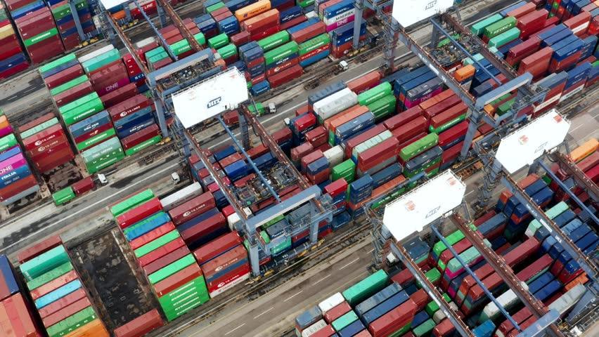 Kwai Tsing , Hong Kong 09 October 2018:- Cargo Container Port in Hong Kong  | Shutterstock HD Video #1019074453