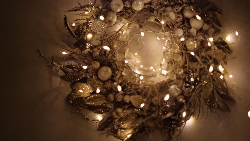 Tiny Christmas Lights.Golden Christmas Wreath Glowing In Stock Footage Video 100 Royalty Free 1019081563 Shutterstock