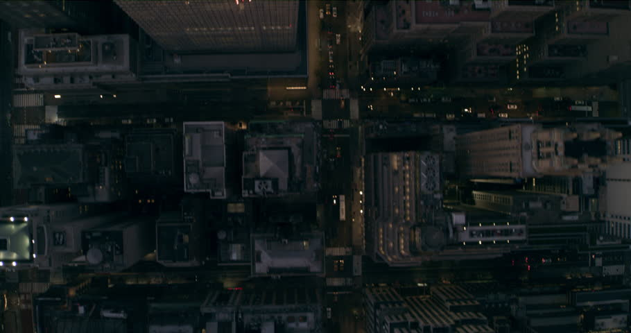 Aerial top down view of Manhattan city skyline in New York in evening. Wide to Long shot on 4K RED camera.