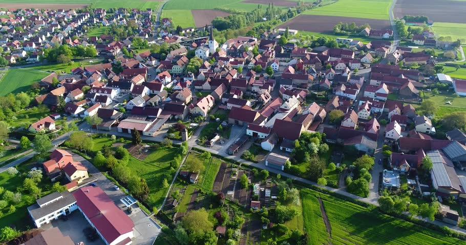 A little European city with a church in the center, European architecture, European village | Shutterstock HD Video #1019116183