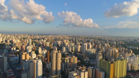 SAO PAULO, BRAZIL - MAY 3, 2018: Aerial view of city centre, residental and business buildings in downtown from above. Drone shot in 4K