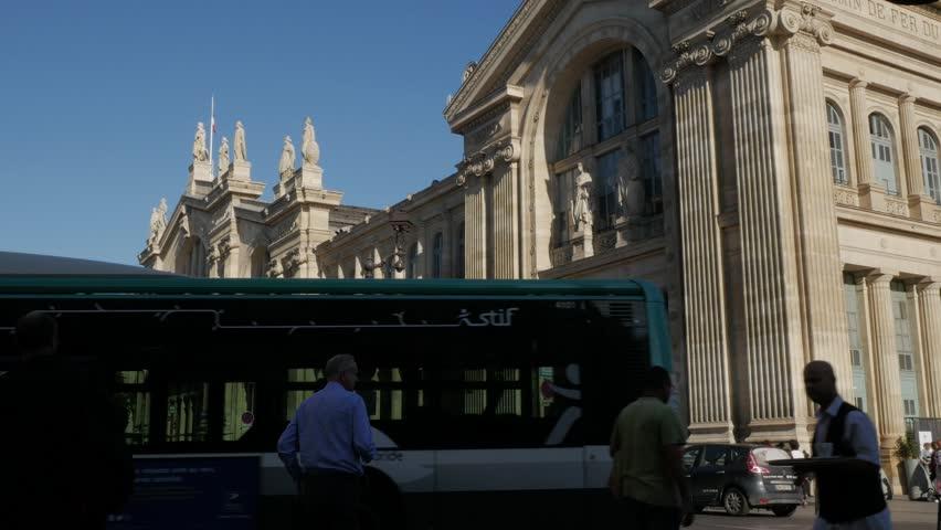 Paris, France - September 2018. Gare du Nord Rail Station terminus Entrance, Rue de Dunkerque, 10th arrondissement, Paris, France