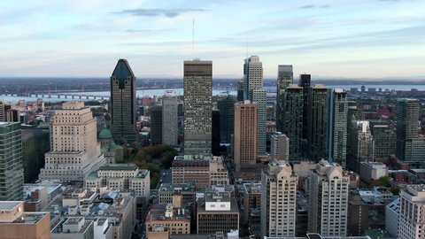 Montreal, Quebec, Canada, aerial panoramic view of Downtown buildings at  dusk in Autumn season.