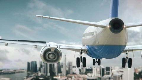 Airplane Landing Singapore Asia