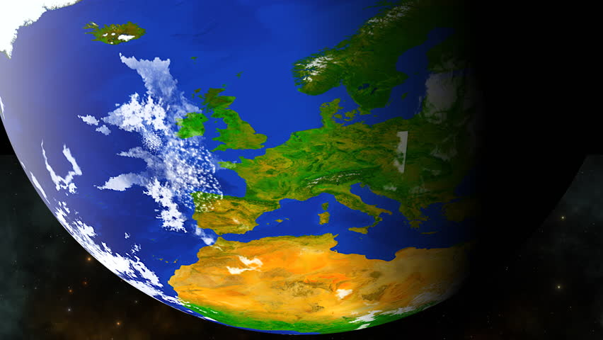 Europe and West Africa as viewed from space.