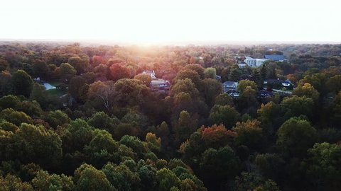 Flying above the stunning colorful treetops in Louisville with leaves turning colors on sunny morning. Beautiful autumn trees in yellow, orange and red forest on sunny autumn day. Fall foliage in city