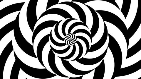 Abstract motion background with psychedelic twisting circles. Round striped black white lines. Swirling hypnotic rotating abstraction. Op art effect, optical illusion. Seamless looping animation.