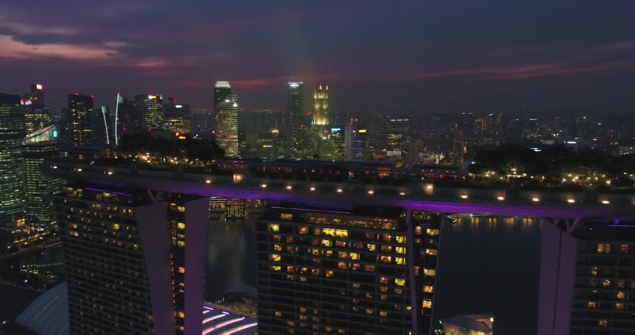 Aerial night view of Singapore City Skyline at Marina Bay - Singapore 2018 | Shutterstock HD Video #1019368003