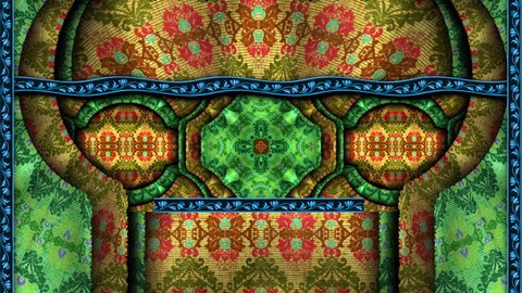 Intricate Middle Eastern Persian style tapestry with moving shadow patterns