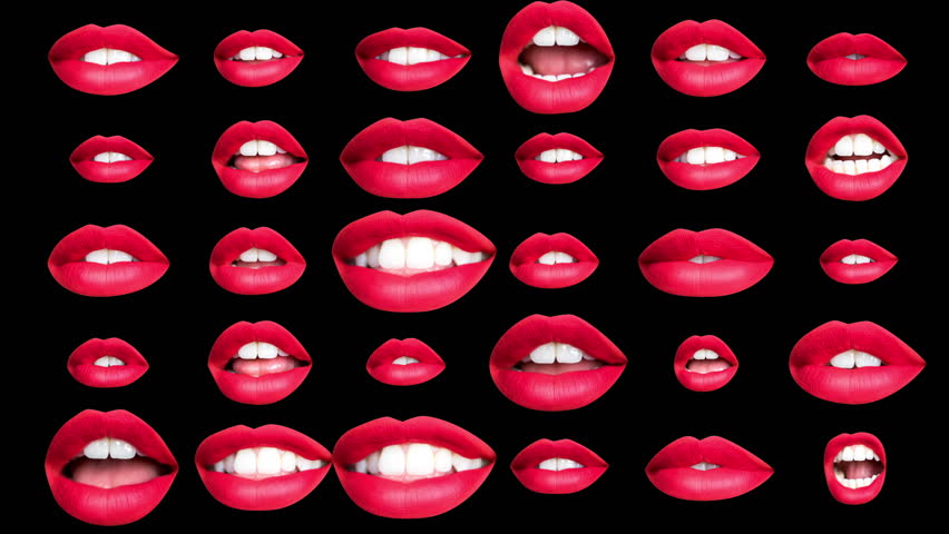Sequence of different images of woman's beautiful full red lips made into a repeating wallpaper pattern | Shutterstock HD Video #1019429713
