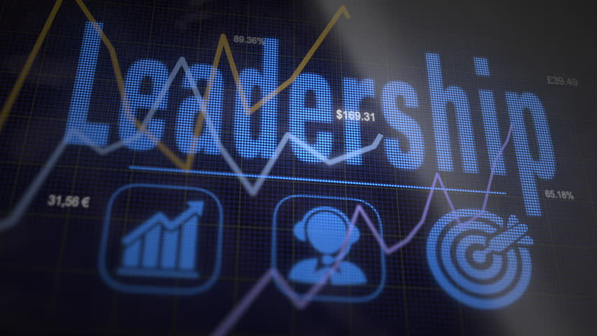 A Leadership business concept on a flashing computer monitor with moving graphs and data.