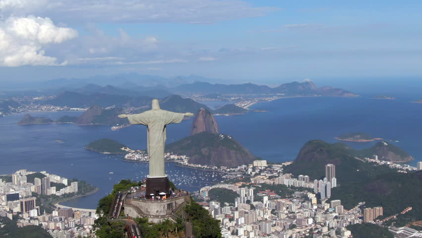 Rio de Janeiro, Brazil, aerial view of Rio cityscape including Christ the Redeemer statue and Sugarloaf Mountain. | Shutterstock HD Video #1019479633