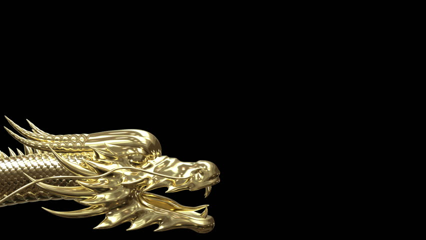 Gold Chinese dragon animation movement with gold material shade by 3d rendering. | Shutterstock HD Video #1019640103