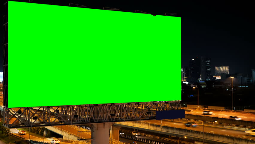Green screen of advertising billboard on expressway during the twilight with city background in Bangkok, Thailand. #1019719303