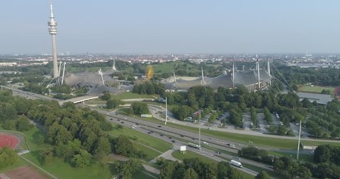 Munich, Bavaria, Germany,  August 10. 2018, Olympic park with pan to the left
