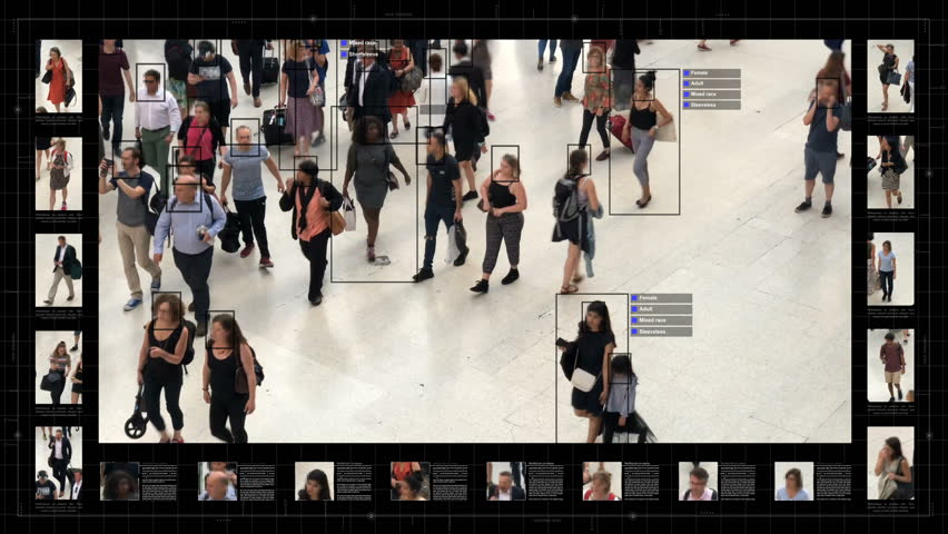 Surveillance interface using artificial intelligence and facial recognition systems to categorize individual data. Sex, race and type of clothing. Deep learning. Futuristic technology. Computer vision