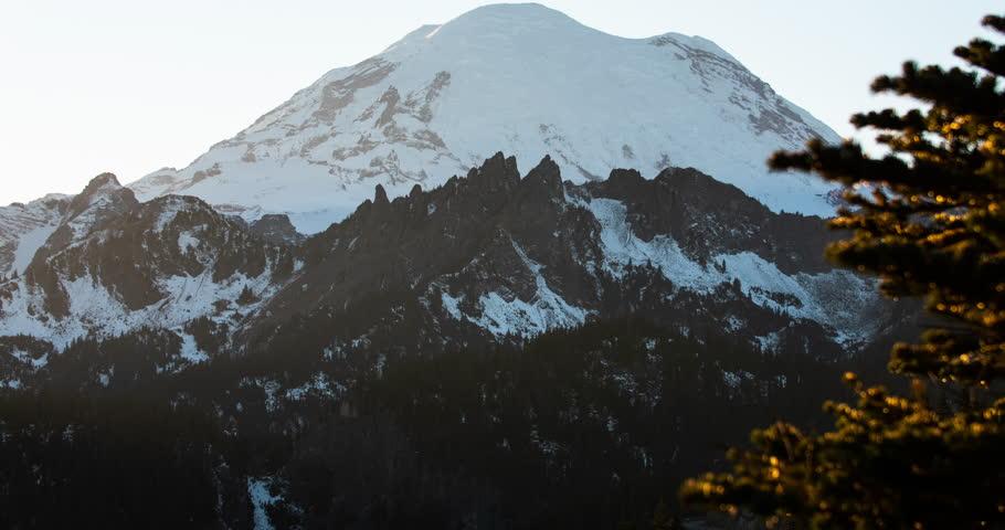 Mount Rainier Washington USA Sunset Tilt Mountain Reveal Timelapse Cascade Range