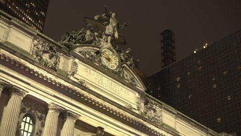 NEW YORK CITY, NY - SEPTEMBER 11 : Grand Central Station Terminal exterior clock establishing shot in New York City, New York on September 11, 2018.