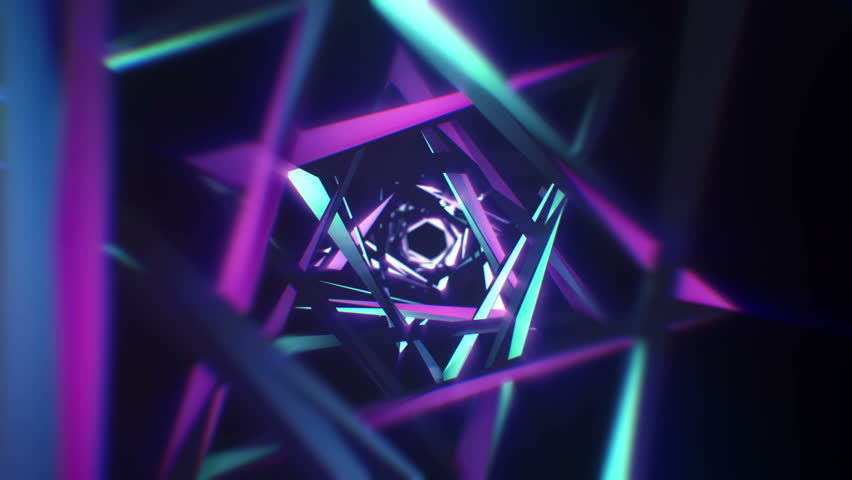 4K Abstract technology tunnel. Black metal construction sharp corners with blue and violet color reflections the camera moves forward towards. Sci fi background. Neon lights | Shutterstock HD Video #1020115663