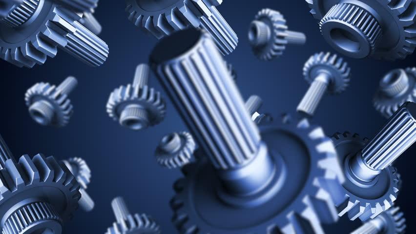 3D gears falling down on blue background | Shutterstock HD Video #1020140473