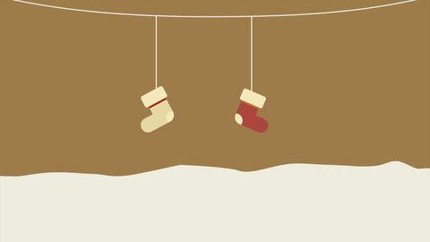Animation of sock hanging motion. Chirstmas