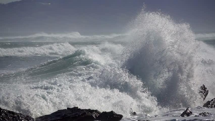 Big Wave crushing coast , Large Ocean Beautiful Wave, Awesome power of waves breaking over dangerous rocks  | Shutterstock HD Video #1020224743