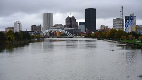 Traffic Crosses the River Arch Bridge in Downtown Rochester New York
