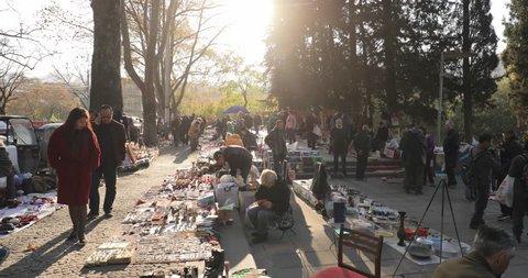 Tbilisi, Georgia - November 11, 2018: Shop Flea Market Of Antiques Old Retro Vintage Things On Dry Bridge. Swap Meet In Tbilisi