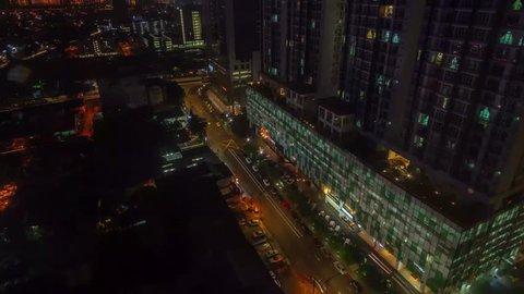 JOHOR BHARU, JOHOR / MALAYSIA - Nov 10, 2018 : Time Lapse of Johor Bahru city at night.