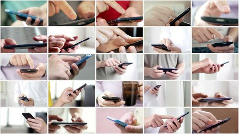 Collage of hand using modern touchscreen smart phone close-up