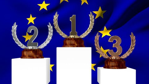 Digital composite of first place, second place, and third place trophies on podiums with European flag waving in the background