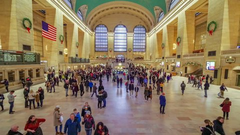 New York, USA - December 1, 2018: Time lapse of crowd Grand Central Station in New York City