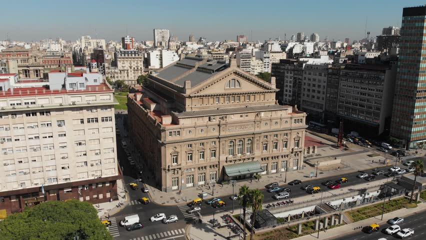 Buenos Aires, Argentina - December 1, 2018: Aerial drone view of the old historic Teatro Colon theater opera house on avenida de Julio with traffic and cars passing in the street. Art architecture.