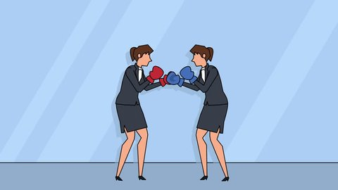 Flat cartoon business people woman characters  boxing fight standoff rivalry concept animation