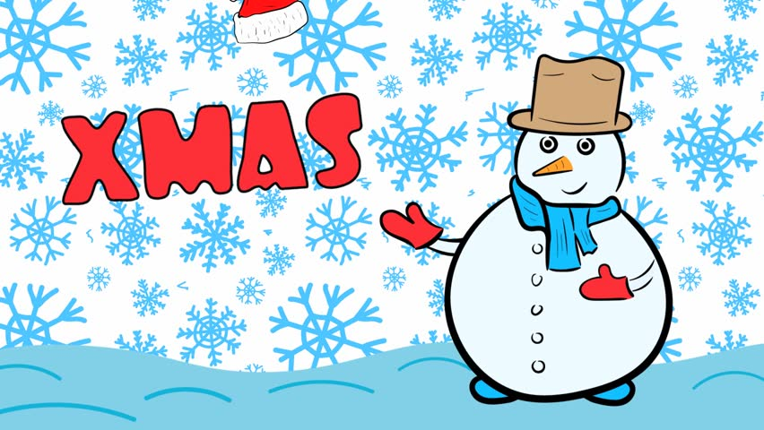 Snowman xmas and blue snowflakes | Shutterstock HD Video #1020702253