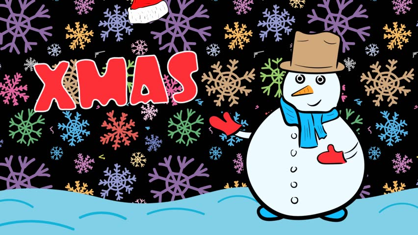 Snowman xmas and dark color snowflakes | Shutterstock HD Video #1020717913