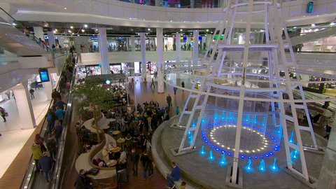 SZCZECIN, POLAND - NOVEMBER 2018: Interior of shopping center in Szczecin, Poland