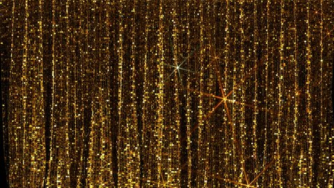 Gold glittery theatre curtains