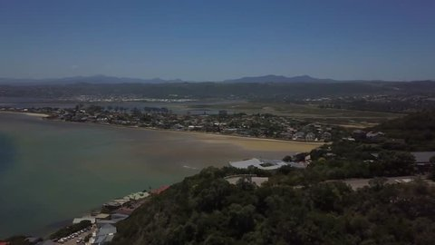 Aerial of Knysna and its lagoon along the garden route in the Western Cape, South Africa
