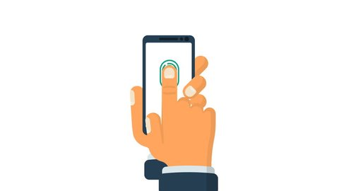 Scanning fingerprint on smartphone video animation. Unlock mobile phone. Vector illustration flat design. Isolated on white background. Biometric system. Application identification.