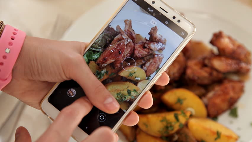 Woman Hands Taking Photos Of Dinner Food By Smartphone. Closeup | Shutterstock HD Video #1020996373