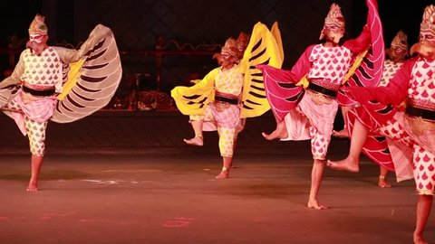 Prambanan Yogyakarta, Indonesia-June 23, 2018: In the evenings, Ramayana Ballet dances comes to life by over 200 professional dancers on an open air stage that takes advantage of the Prambanan temple.