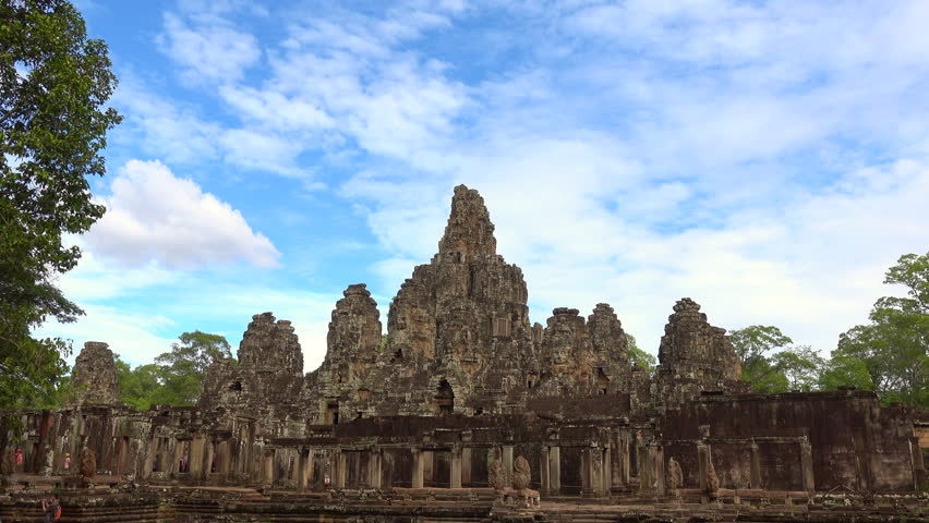 Faces of Bayon temple in Angkor Thom, Siemreap, Cambodia. The Bayon Temple (Prasat Bayon ) is a richly decorated Khmer temple at Angkor , ancient architecture in Cambodia #1021068403