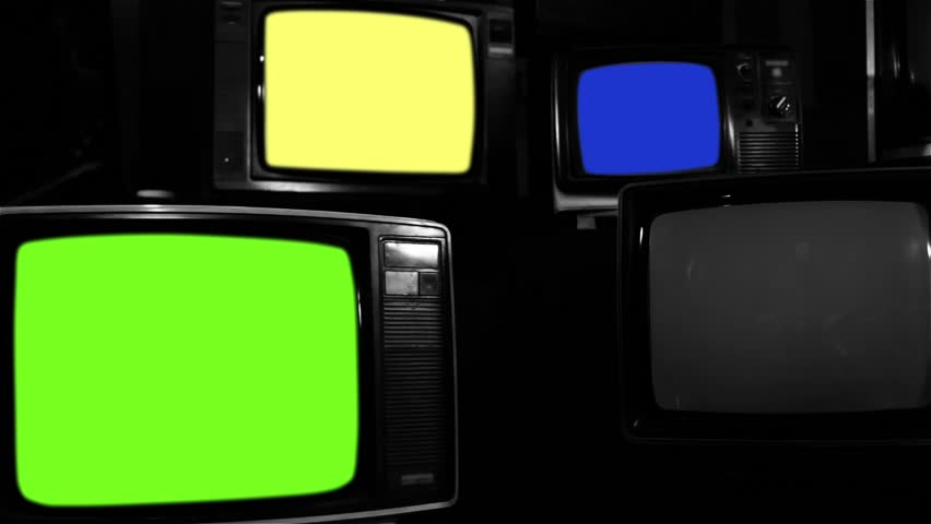 "Old Tvs Turning On Different Chroma Screen. Black and White Tone. Ready to Replace Chroma Screens with any Footage or Picture you Want. You can do it with ""Keying"" (Chroma Key) effect. 