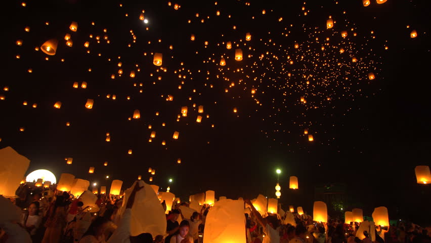 22th November 2018. Chiang Mai, Thailand. Yi Peng Lanna lanterns floating to night sky during festival in Chiang Mai, Thailand. #1021185493