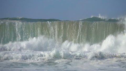 Wave sea storm ocean great big waves green flood water foam ,blue sky